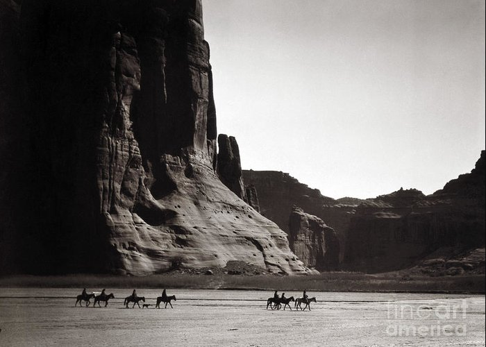 1904 Greeting Card featuring the photograph Navajos: Canyon De Chelly, 1904 by Granger