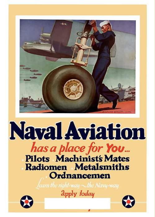Navy Greeting Card featuring the painting Naval Aviation Has A Place For You by War Is Hell Store
