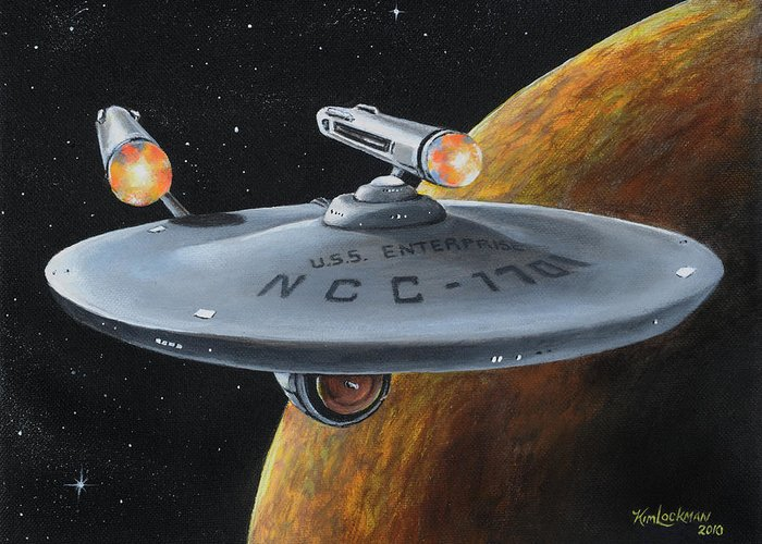 Star Trek Greeting Card featuring the painting Ncc-1701 by Kim Lockman