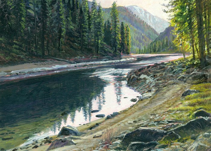 River Greeting Card featuring the painting Near Horse Creek by Steve Spencer