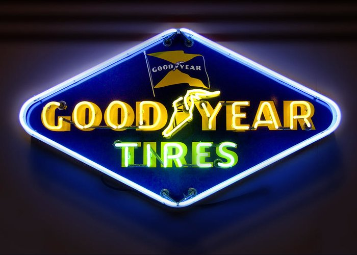 Transportation Greeting Card featuring the photograph Neon Goodyear Tires Sign by Mike McGlothlen