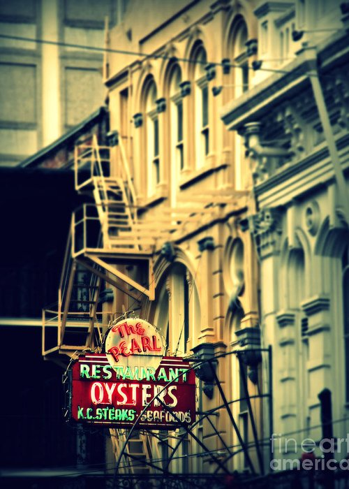 New Orleans Greeting Card featuring the photograph Neon Oysters Sign by Perry Webster