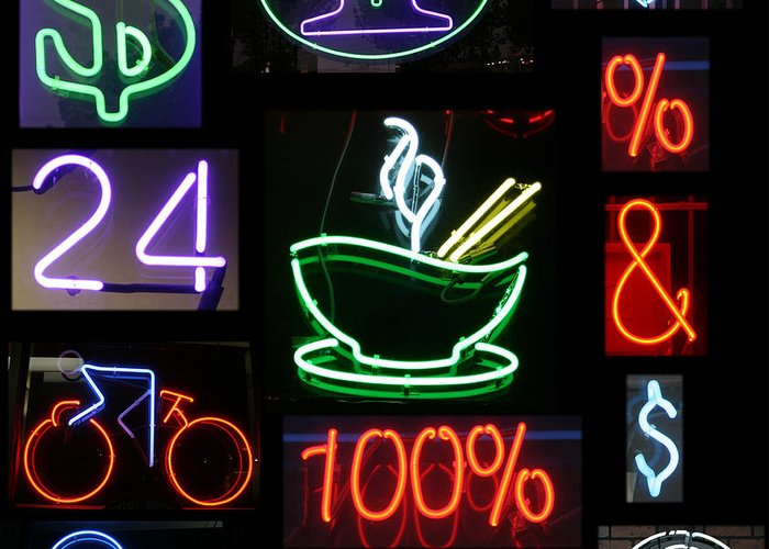 10th Framed Prints Greeting Card featuring the photograph Neon Sign Series Of Various Symbols by Michael Ledray