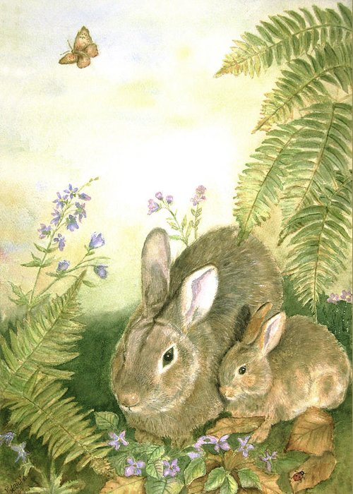 Bunnies Greeting Card featuring the painting Nesting Bunnies by Patricia Pushaw