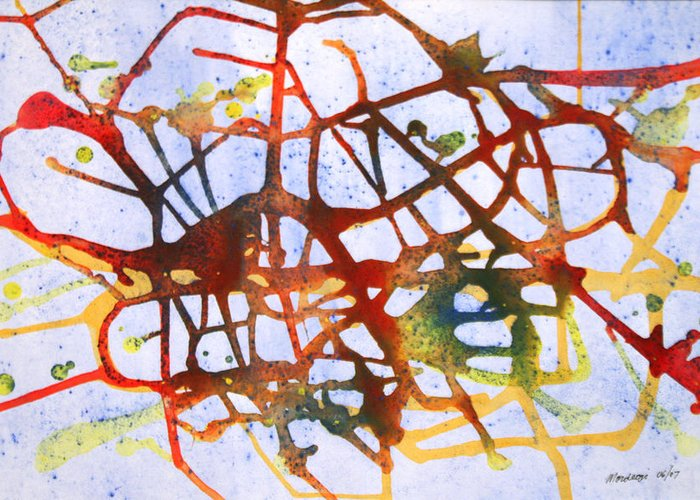 Abstract Greeting Card featuring the painting Neuron by Mordecai Colodner