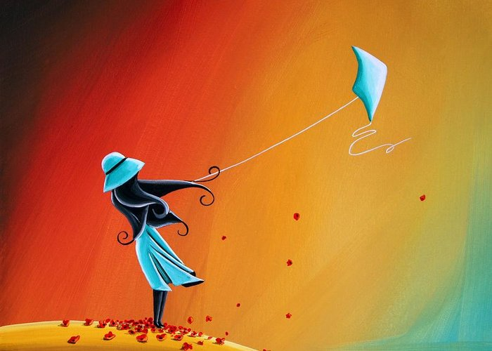 Girl Greeting Card featuring the painting Never Let Go by Cindy Thornton
