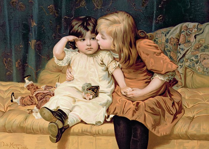 Never Mind Greeting Card featuring the painting Nevermind by Frederick Morgan