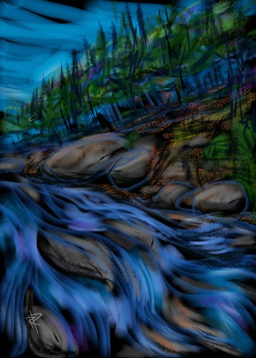 Stream Greeting Card featuring the mixed media New England Stream by Russell Pierce