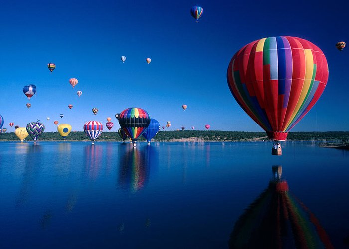 Hot Air Balloon Greeting Card featuring the photograph New Mexico Hot Air Balloons by Jerry McElroy