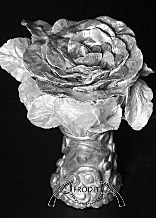 Flower Greeting Card featuring the ceramic art New Sculpture by Afrodita Ellerman