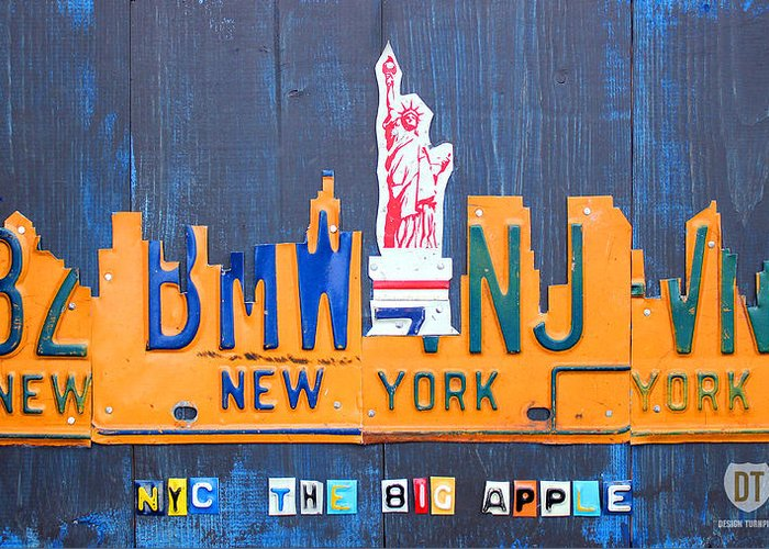 New York Greeting Card featuring the mixed media New York City Skyline License Plate Art by Design Turnpike