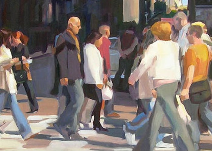 A Crowd Of People Cross A Busy Intersection In New York City. Greeting Card featuring the painting New York Crosswalk by Merle Keller