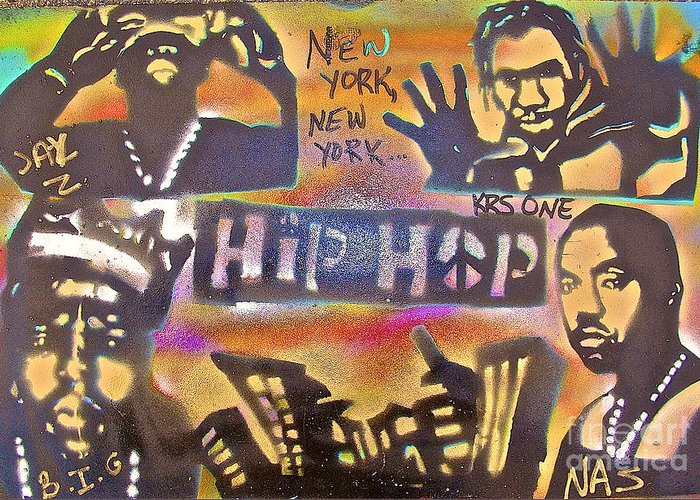Hip Hop Greeting Card featuring the painting New York New York by Tony B Conscious