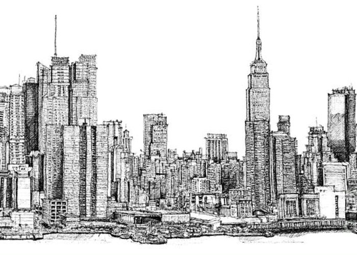 New York City Skyline In Ink Lee-ann Adendorff Pen Nyc Empire State Building Architectural Sketch Architect Illustration City Roofscape Illustrator Architect America Architecture Framed Prints Drawings Greeting Card featuring the drawing New York Skyline In Ink by Adendorff Design