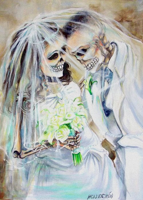 Day Of The Dead Greeting Card featuring the photograph Newly Deads by Heather Calderon