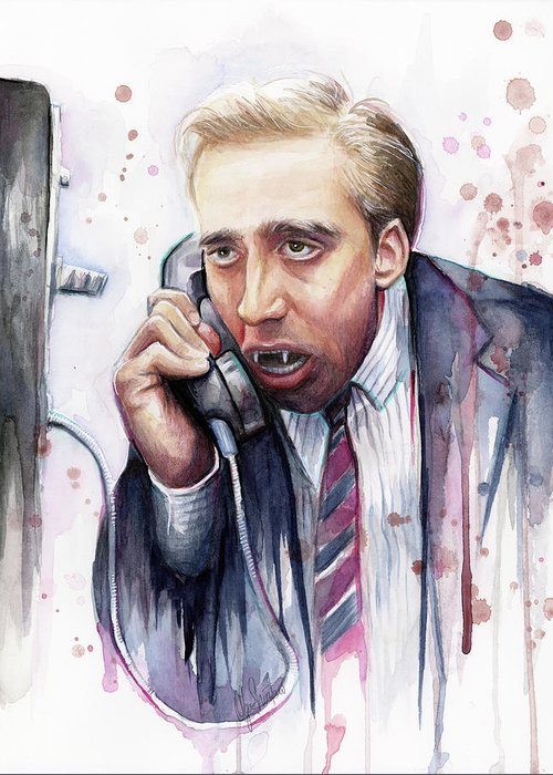 Nicolas Cage Greeting Card featuring the painting Nicolas Cage A Vampire's Kiss Watercolor Art by Olga Shvartsur