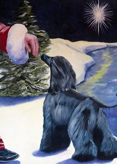 Afghan Hound Greeting Card featuring the painting Night Before Xmas by Terry Chacon