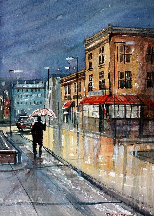 Street Scene Greeting Card featuring the painting Night Lights by Ryan Radke