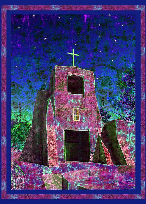 Mission Greeting Card featuring the photograph Night Magic San Miguel Mission by Kurt Van Wagner