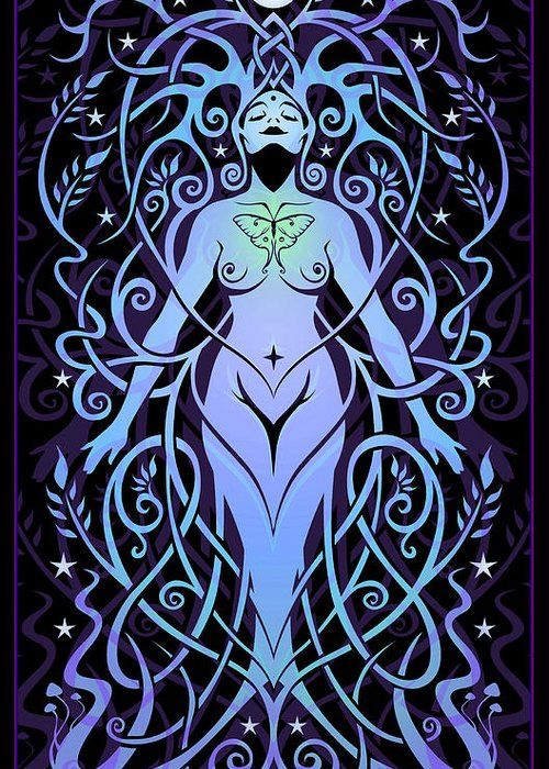 Goddess Greeting Card featuring the digital art Night Song by Cristina McAllister