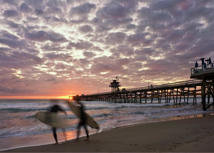 San Clemente Greeting Card featuring the photograph Night Surfing by Gary Zuercher
