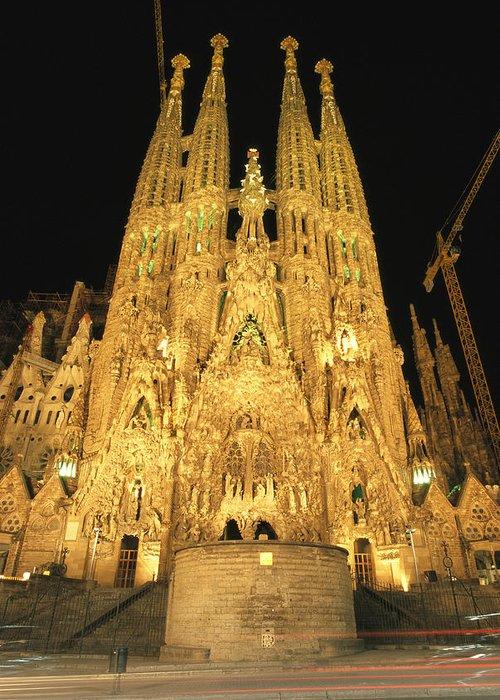 Religion Greeting Card featuring the photograph Night View Of Antoni Gaudis La Sagrada by Richard Nowitz