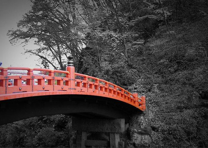 Nikko Greeting Card featuring the photograph Nikko Red Bridge by Naxart Studio