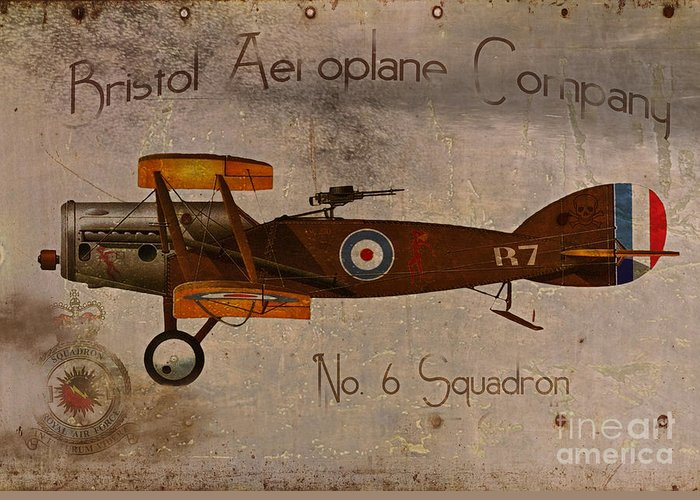 Ww1 Greeting Card featuring the painting No. 6 Squadron Bristol Aeroplane Company by Cinema Photography