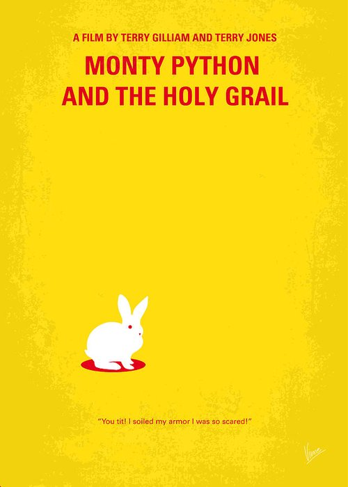 Monty Greeting Card featuring the digital art No036 My Monty Python And The Holy Grail Minimal Movie Poster by Chungkong Art