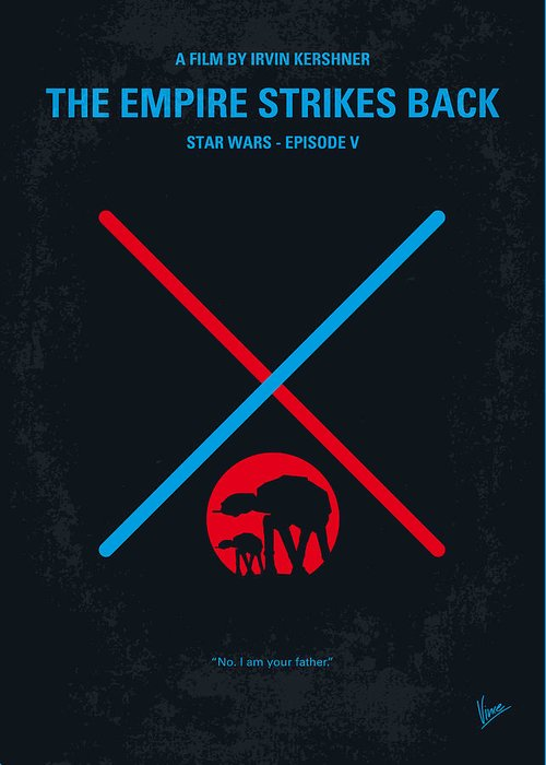 Star Greeting Card featuring the digital art No155 My Star Wars Episode V The Empire Strikes Back Minimal Movie Poster by Chungkong Art