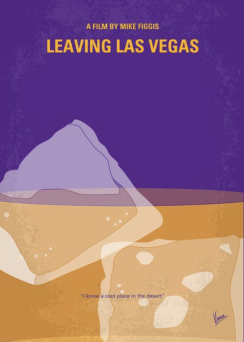 Leaving Greeting Card featuring the digital art No180 My Leaving Las Vegas Minimal Movie Poster by Chungkong Art