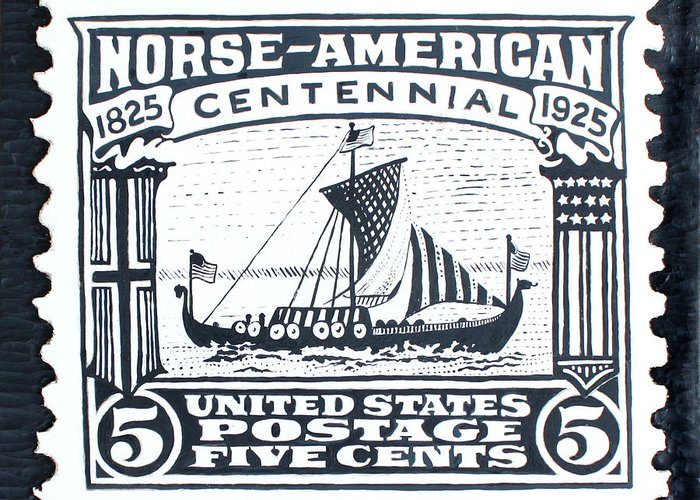 Ship Greeting Card featuring the painting Norse-american Centennial Stamp by James Neill