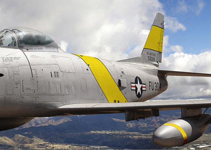 F-86 Sabre Greeting Card featuring the photograph North American F-86 Sabre by Larry McManus