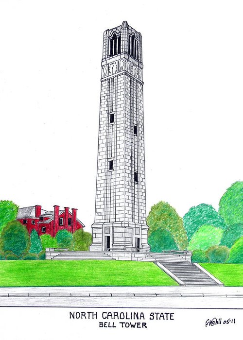 North Carolina State University Drawing Greeting Card featuring the drawing North Carolina State by Frederic Kohli
