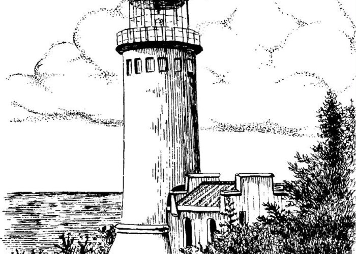Lighthouse Greeting Card featuring the drawing North Head Lighthouse by Lawrence Tripoli