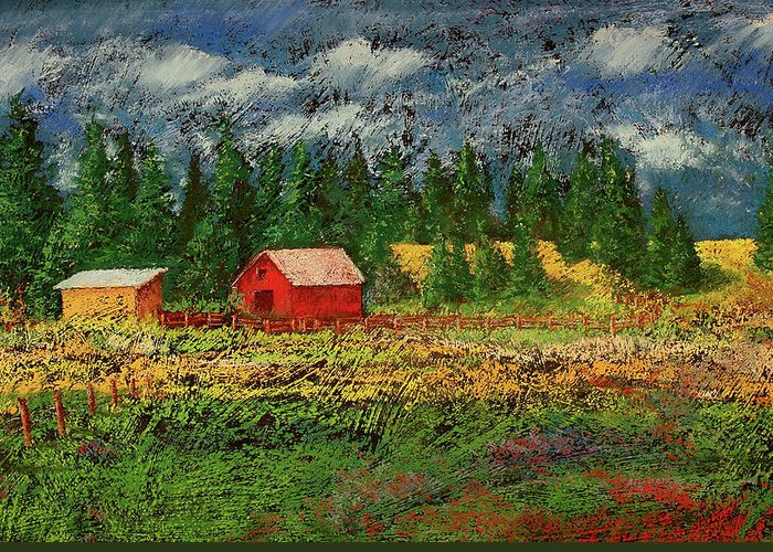 Soft Pastel Greeting Card featuring the painting North Idaho Farm by David Patterson