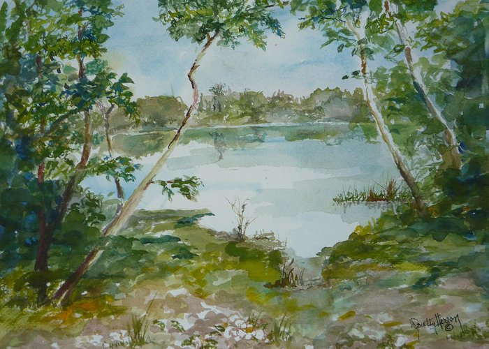 Lake Low Country Greeting Card featuring the painting North Lake by Dorothy Herron