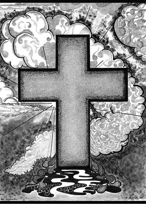 Christian Greeting Card featuring the drawing Nothing But The Blood by Glenn McCarthy Art and Photography