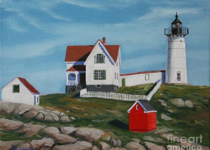 Seascape Greeting Card featuring the painting Nubble Light House by Paul Walsh
