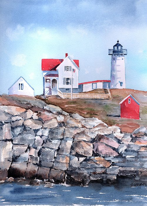 House Greeting Card featuring the painting Nubble Lighthouse - Maine by Arline Wagner