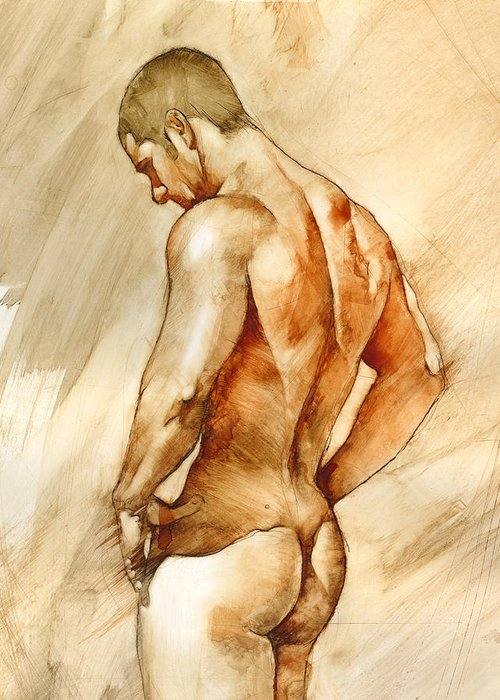 Man Greeting Card featuring the painting Nude 41 by Chris Lopez