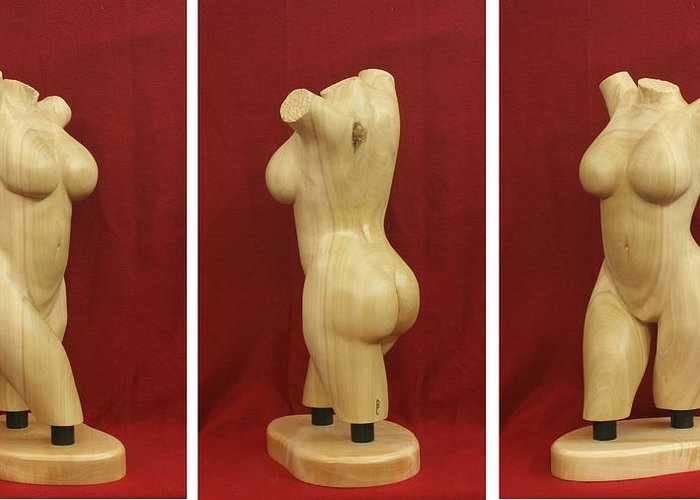 Nude Greeting Card featuring the sculpture Nude Female Wood Torso Sculpture Roberta  by Mike Burton