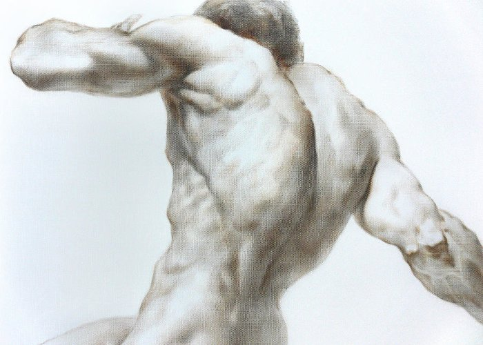 Man Greeting Card featuring the painting Nude1c by Valeriy Mavlo