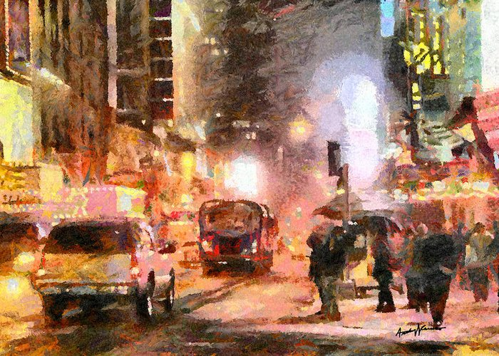 Cityscape Greeting Card featuring the painting Nyc At Night by Anthony Caruso
