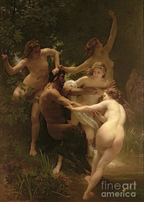 Nymphs And Satyr Greeting Card featuring the painting Nymphs And Satyr by William Adolphe Bouguereau