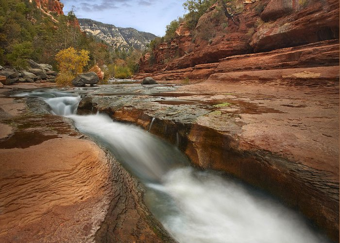 00438935 Greeting Card featuring the photograph Oak Creek In Slide Rock State Park by Tim Fitzharris