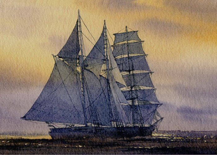 Sailing Vessel Print Greeting Card featuring the painting Ocean Dawn by James Williamson