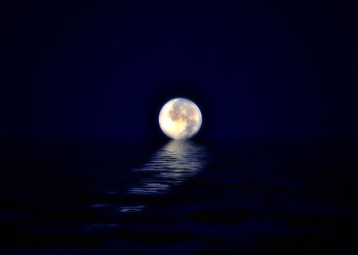 Moon Greeting Card featuring the photograph Ocean Moon by Bill Cannon