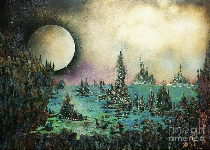 Landscape Greeting Card featuring the painting Ocean Moonrise by Kaye Miller-Dewing