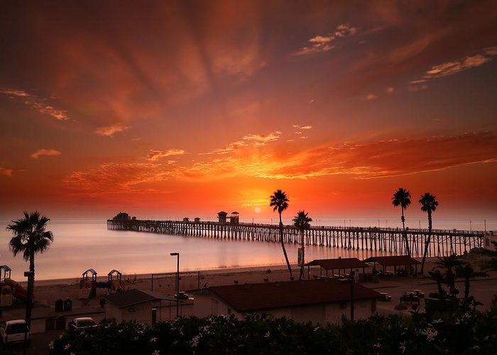 Larry Marshall Greeting Card featuring the photograph Oceanside Sunset 9 by Larry Marshall